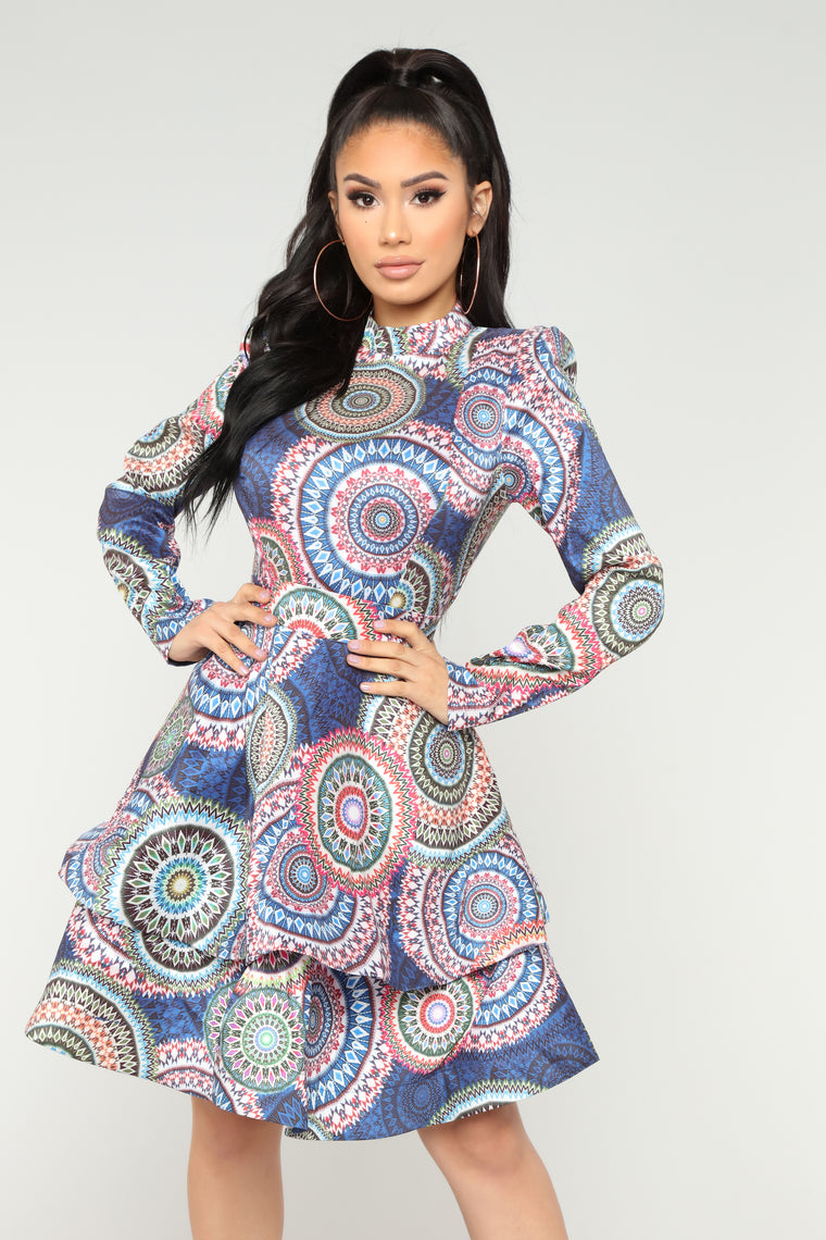 Visionary Babe Ruffle Dress - Blue Multi