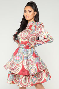 Visionary Babe Ruffle Dress - Red Multi