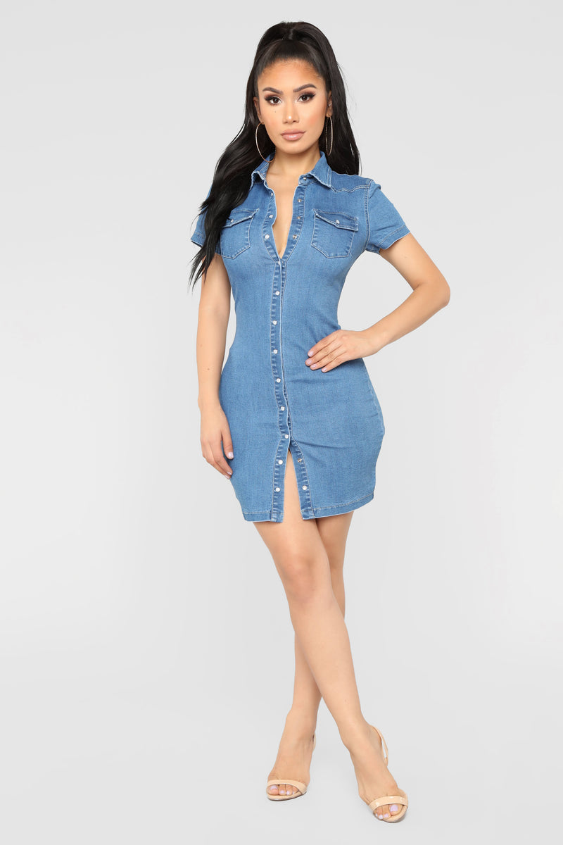 Jett Button Down Denim Dress - Medium Blue Wash