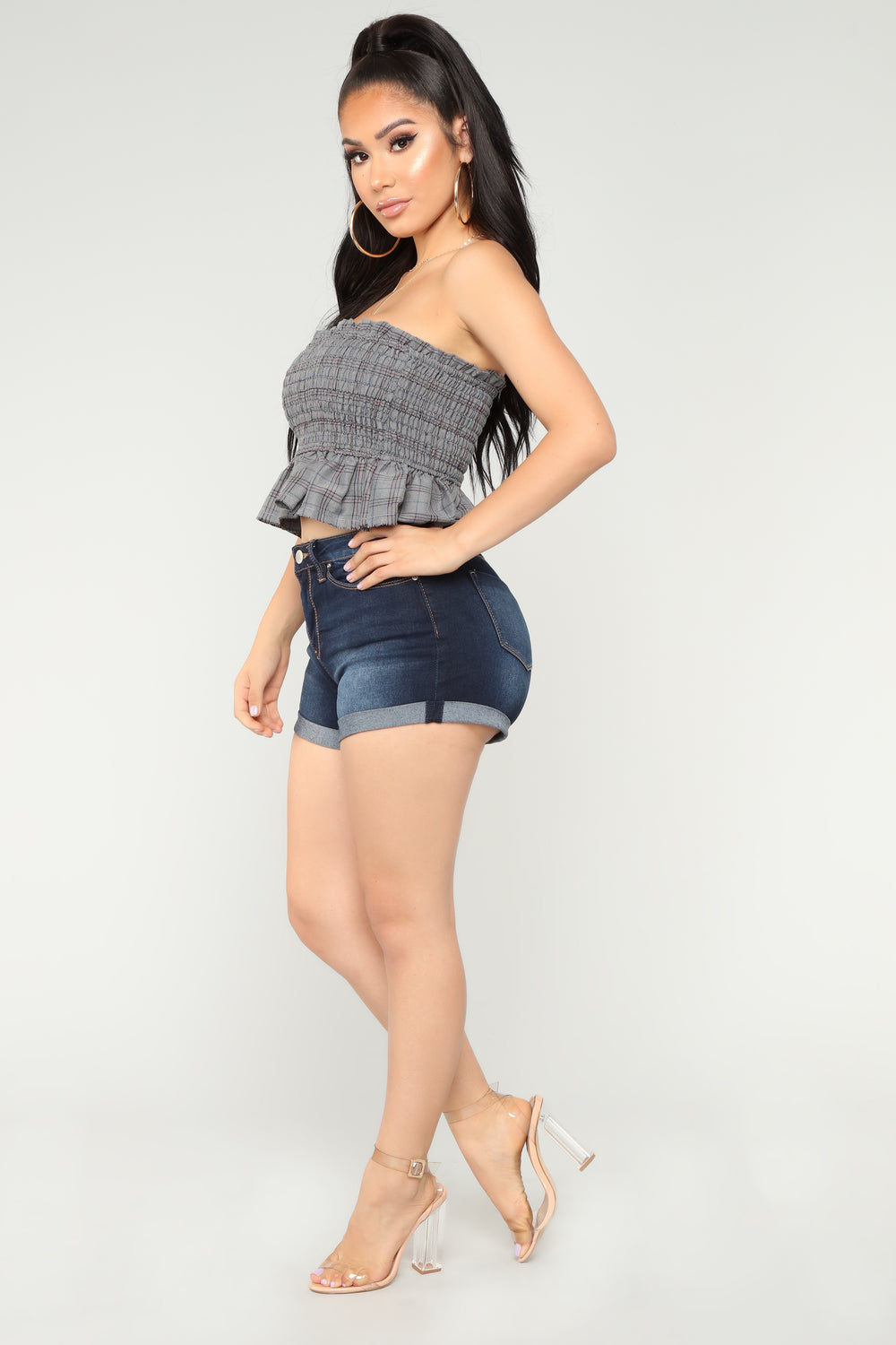 Brielle Smocked Top - Grey