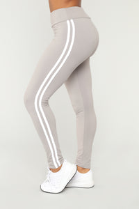 You Really Stretch It Stripe Leggings - Grey