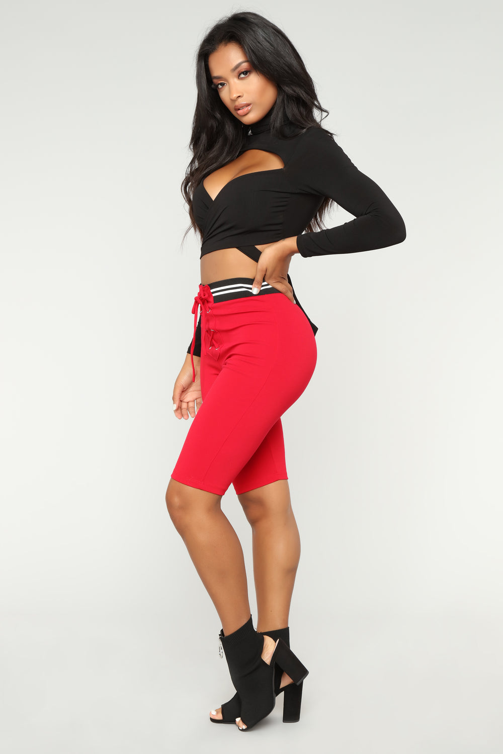 Michaela Biker Shorts - Red