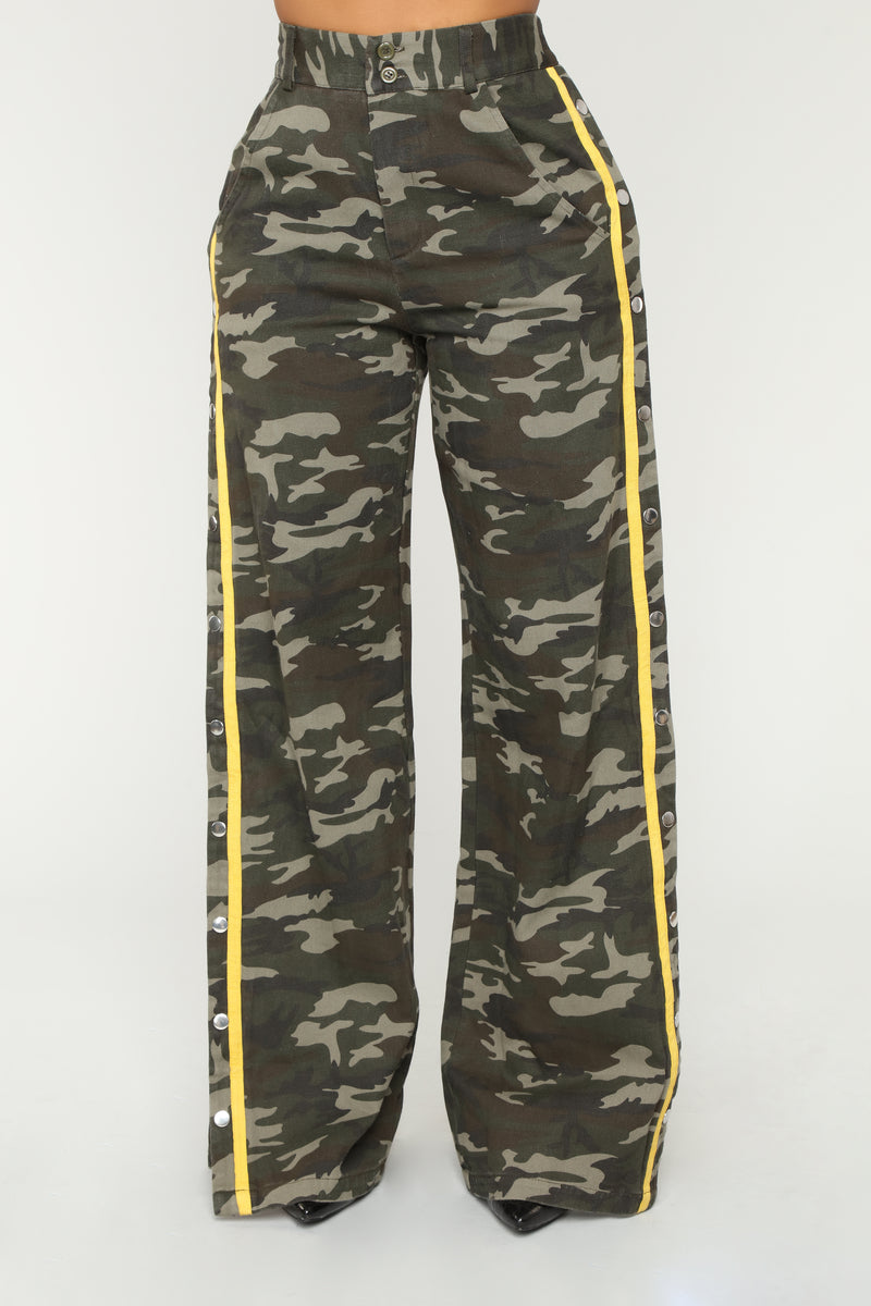 Snip Snaps Camo Pants - Olive/Mustard