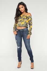 Fighting Feelings Off Shoulder Jacket - Yellow