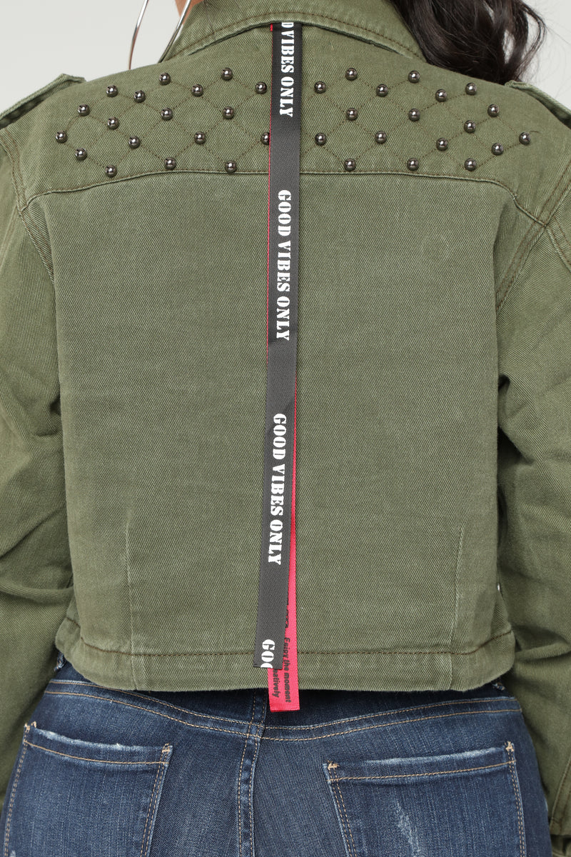 Special Forces Cropped Jacket - Olive