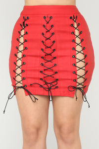 Aren Lace Up Mini Skirt - Red