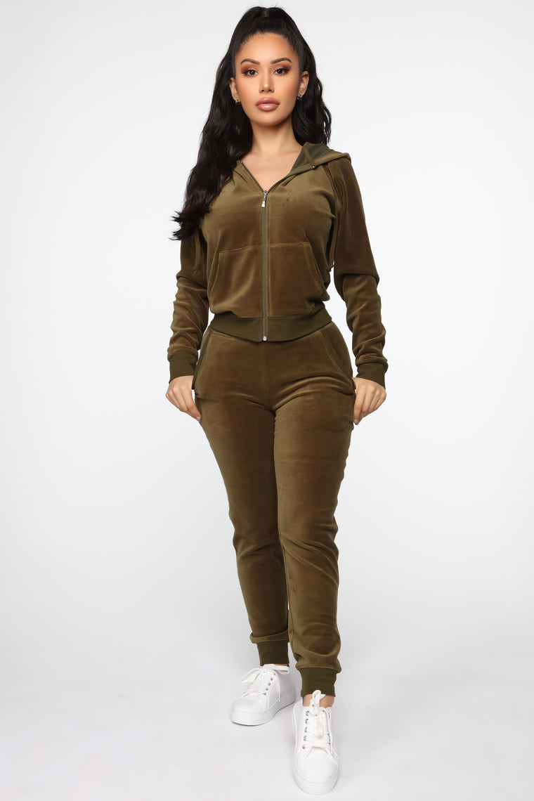 The Original Trendsetter Velour Set   Olive by Fashion Nova
