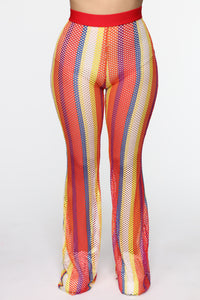 Wildin' Out Mesh Flare Pants - MultiColor Angle 2