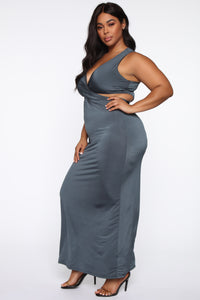 Steal Your Man Maxi Dress - Charcoal
