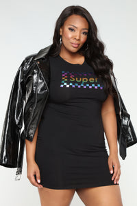 Super Nova Metallic Mini Dress - Black/Multi