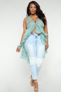 Won't Get Fooled Again Denim Joggers - Light Blue Wash