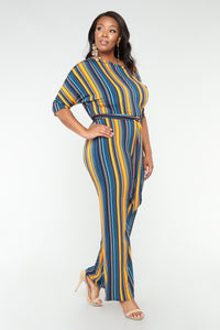 Crossing The Line Stripe Jumpsuit - Blue