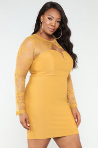 Case of Lovers Lace Dress - Mustard Angle 8