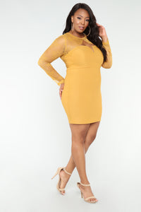 Case of Lovers Lace Dress - Mustard Angle 9
