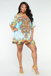 Vacation Dreams Coverup Tunic - Blue/Combo