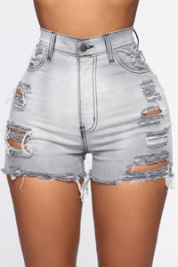 Keep In Touch Distressed Shorts - Grey Angle 1