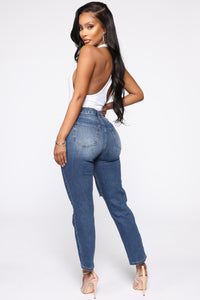 Summer Nights Distressed Mom Jeans - Dark Denim