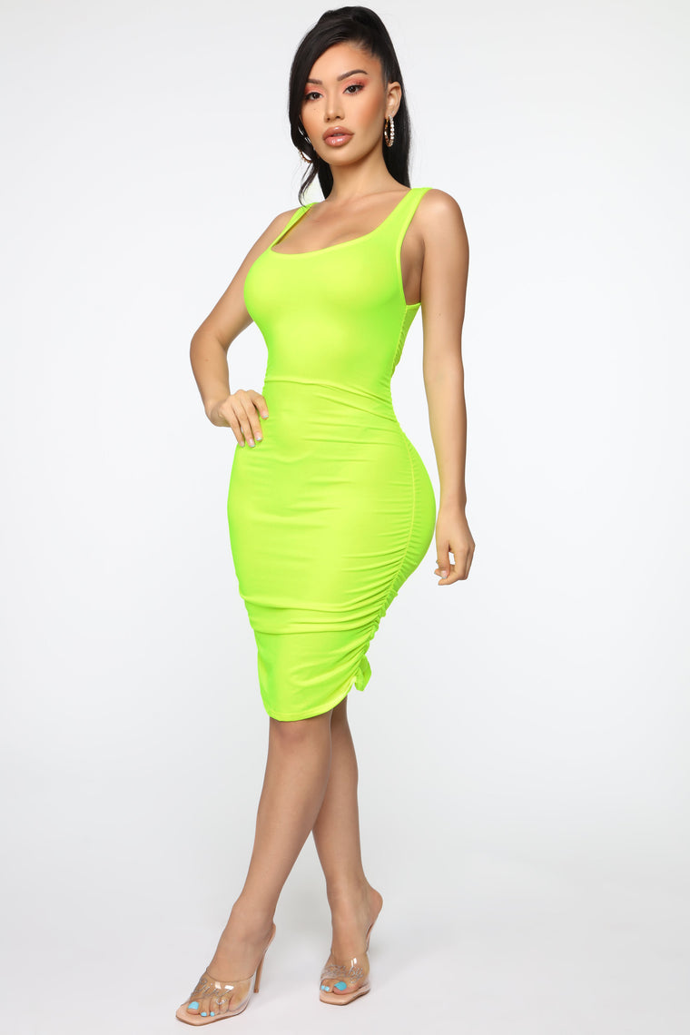 Never Enough Ruched Mini Dress - Lime
