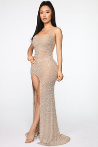 Crown Jewels Embellished Gown - Nude