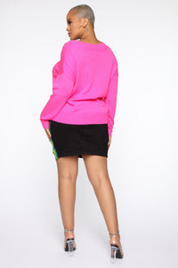 Bring Heaven To You Sweater - Neon Pink