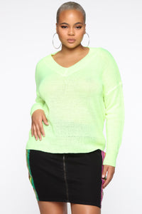 Bring Heaven To You Sweater - Neon Yellow