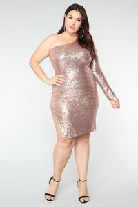 Fiona Sequin Dress - Champagne Angle 8
