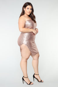 Fiona Sequin Dress - Champagne Angle 7