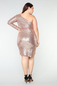 Fiona Sequin Dress - Champagne Angle 6