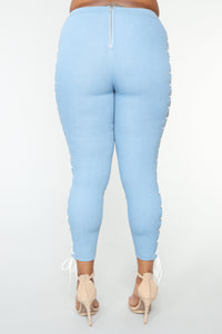 Wild Thang Lace Up Pants - Light Blue Wash Angle 12