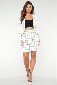 No Loose Ends Tie Waist Skirt - White