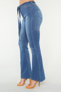 Chic Girl Belted Jeans - Medium Blue Wash