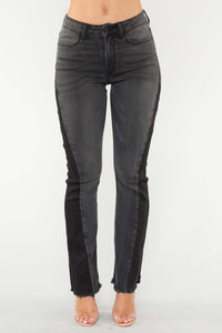 Way Out There Flare Jeans - Grey