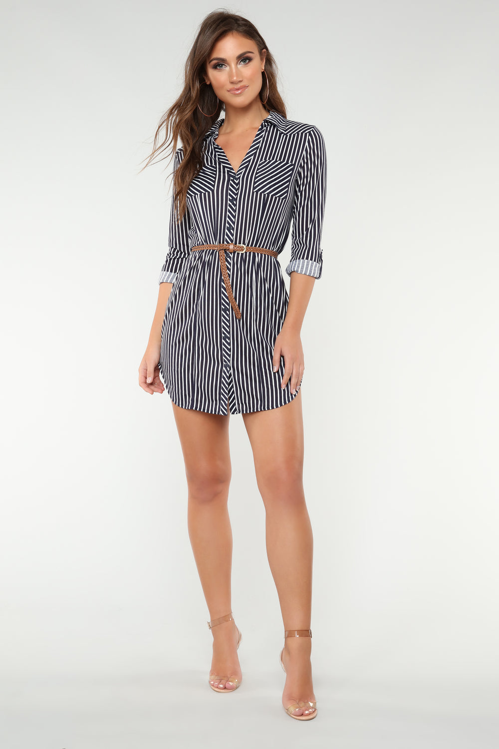 Into The Woods Tunic Dress - Navy/White