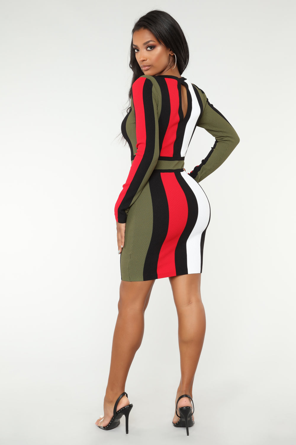 Tell Me You Love Me Stripe Dress - Olive