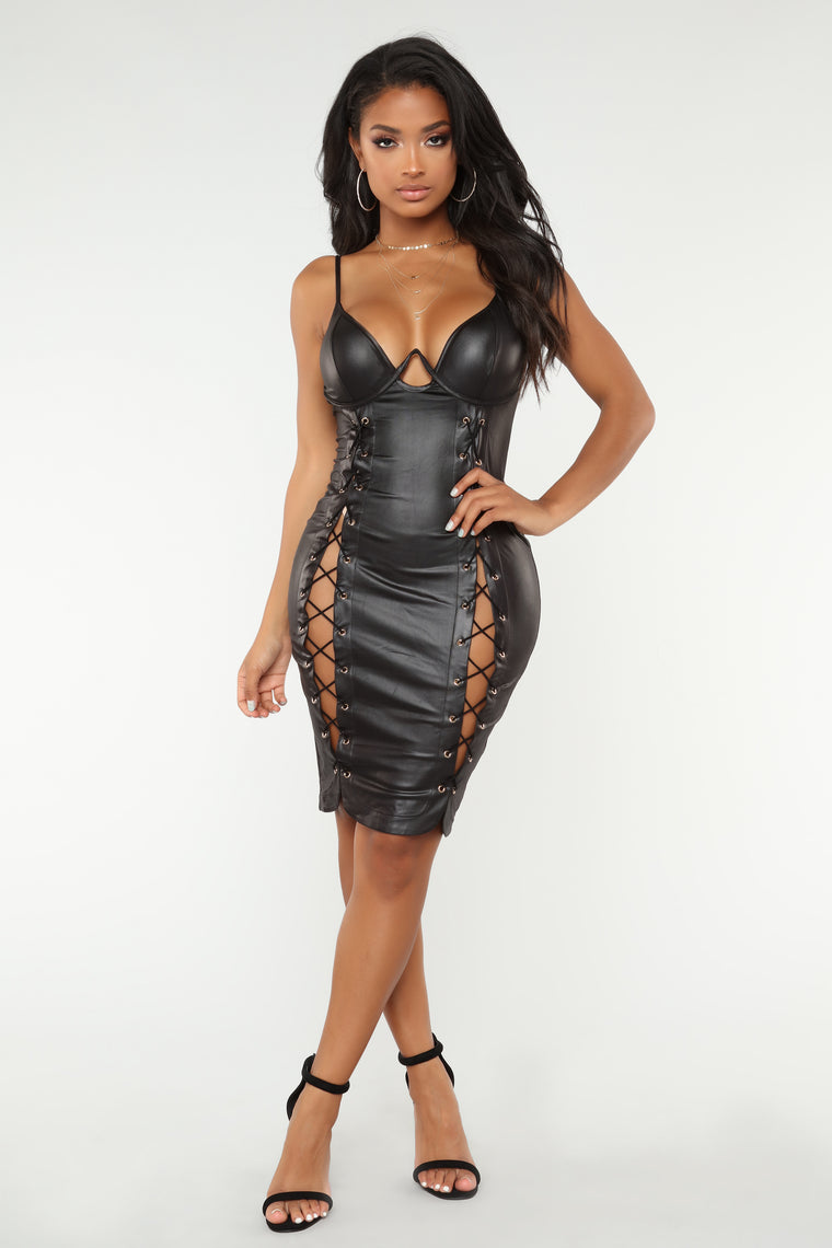 Domination Lace Up Dress - Black
