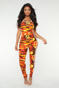 Camo Baby Lounge Jumpsuit - Orange
