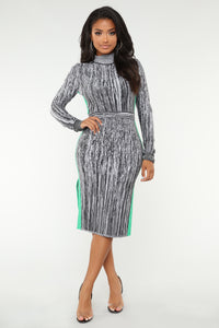 Wait For Me Midi Dress - Charcoal
