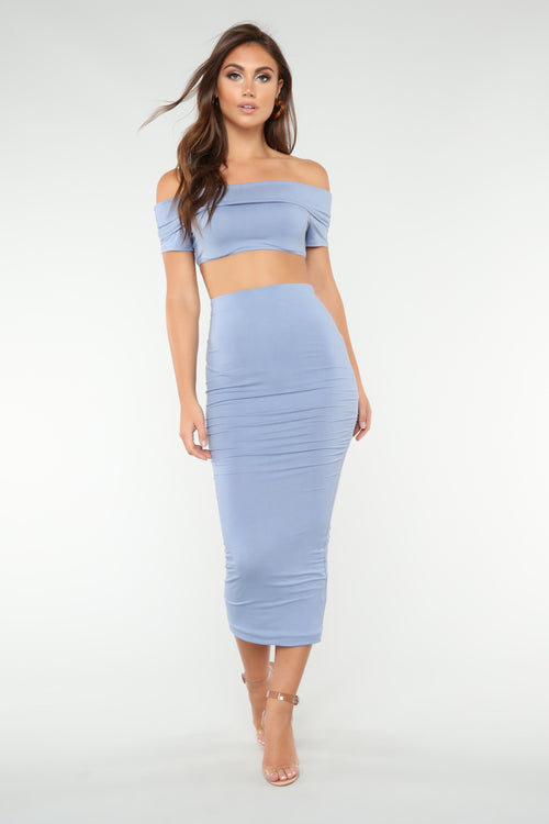 Not Welcome Off Shoulder Set - Dusty Blue