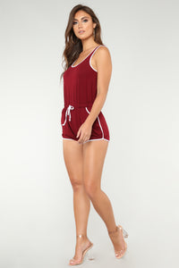 Rookie Mistake Romper - Burgundy