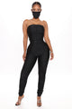 Covered In Ruching Jumpsuit - Black