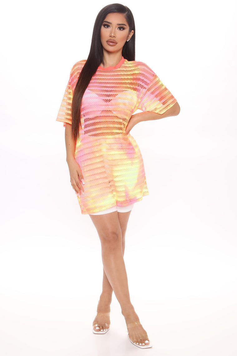 I Feel The Vibes Fishnet Tunic - Orange/combo