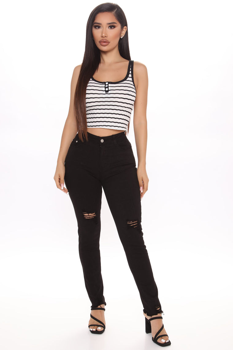 Bad At Goodbyes Striped Crop Top - White/Black