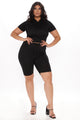 Of Corset Does Biker Short Set - Black