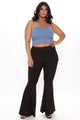 Koko Ribbed Crop Top - Blue