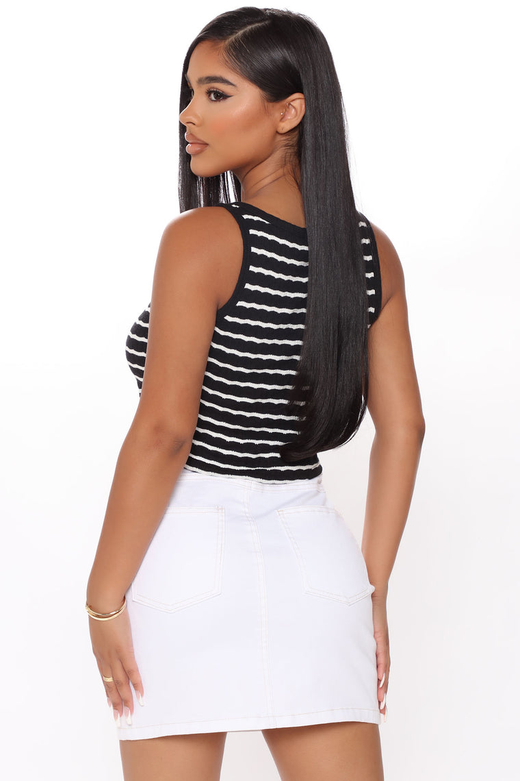 Bad At Goodbyes Striped Crop Top - Black/White