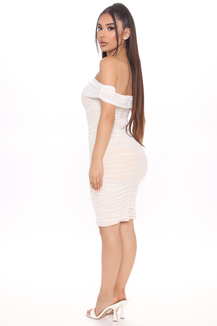 Ready And Ruched Mesh Midi Dress - White