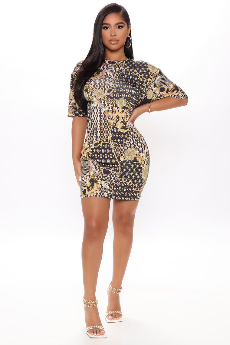 Chic Printed Short Sleeve Mini Dress - Gold/Black