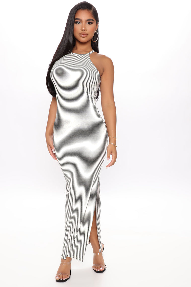 Hard To Forget Maxi Dress - White/Black