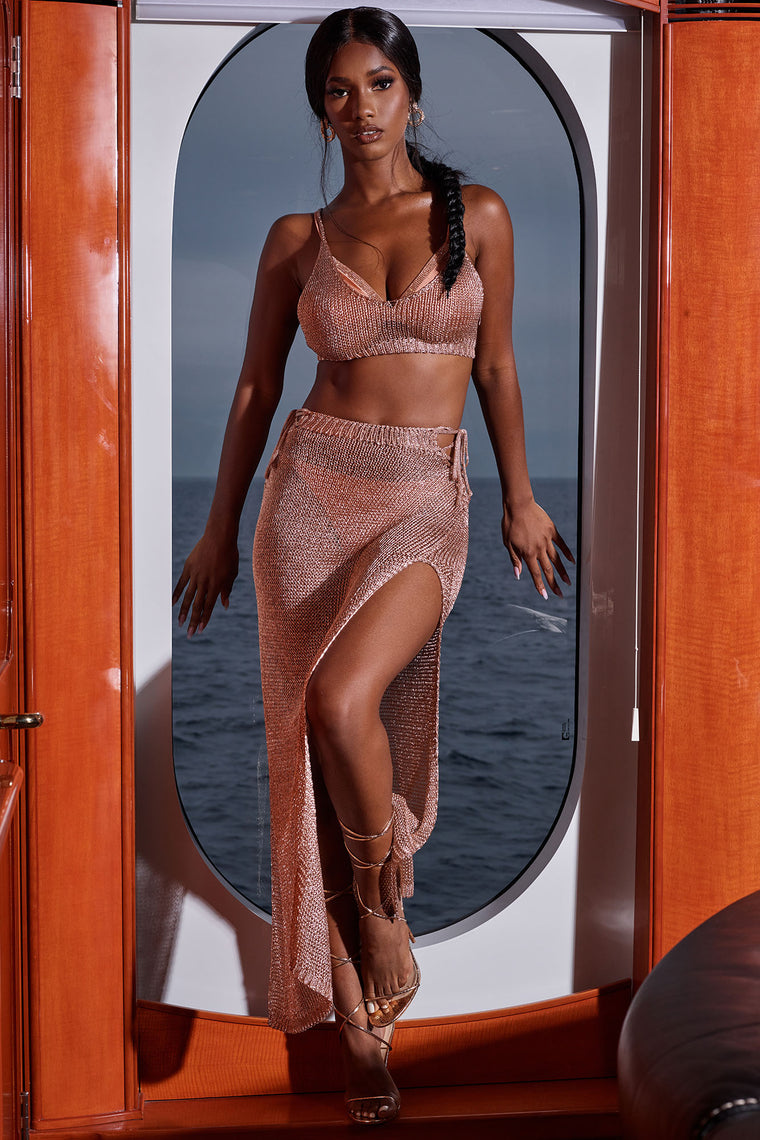 Shine All Night Crochet 2 Piece Cover Up Set - Rose Gold