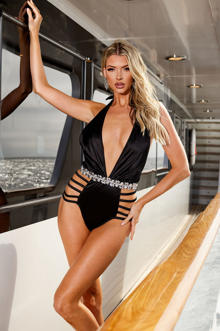 Sparkle Waters Rhinestone Strappy Swimsuit - Black